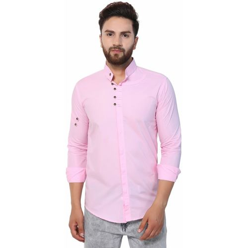 U TURN Pink Cotton Solid Casual Shirt