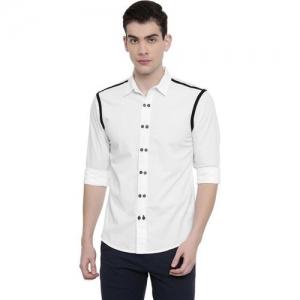 Rodid Men Self Design Casual White Shirt