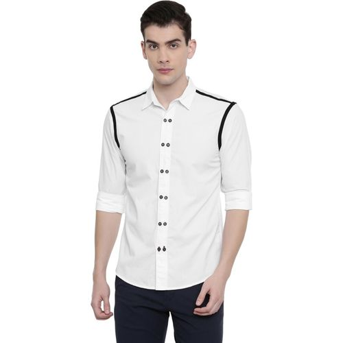 Rodid Men Self Design Casual White Shirt