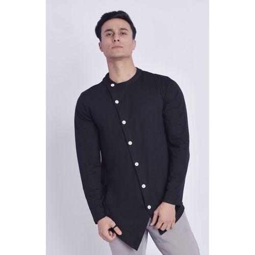COBIO MAN Men Solid Casual Black Shirt