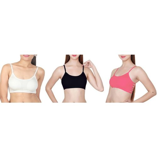 OSTIUM by(Pack of 3) White, Black and Dark Pink Color, 6 Straps, (Removable) Padded, Free Size, (Pack of 3) White, Black and Dark Pink Color, 6 Straps,