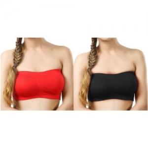 RR Accessories Women Tube Non Padded Bra(Red, Black)