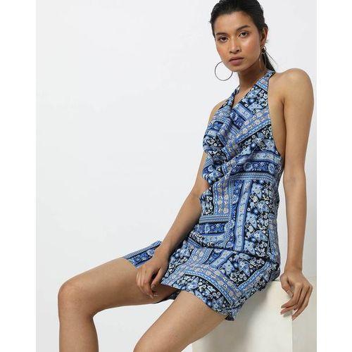 La Loft Floral Print Halter-Neck A-line Dress