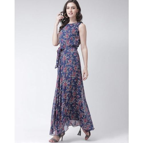 The Vanca Floral Print A-line Maxi Dress with Front Tie-Up