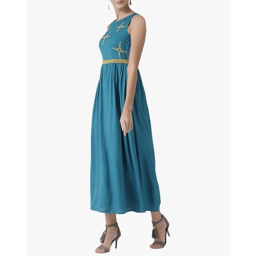 The Vanca A-line Maxi Dress with Embroidered Yoke