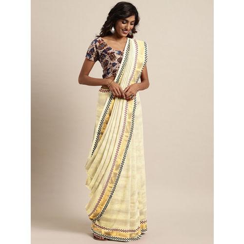The Chennai Silks Classicate Off-White & Gold-Toned Pure Cotton Solid Kasavu Saree