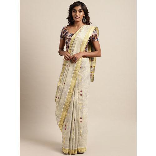 The Chennai Silks Classicate Off-White & Golden Pure Cotton Woven Design Kasavu Saree