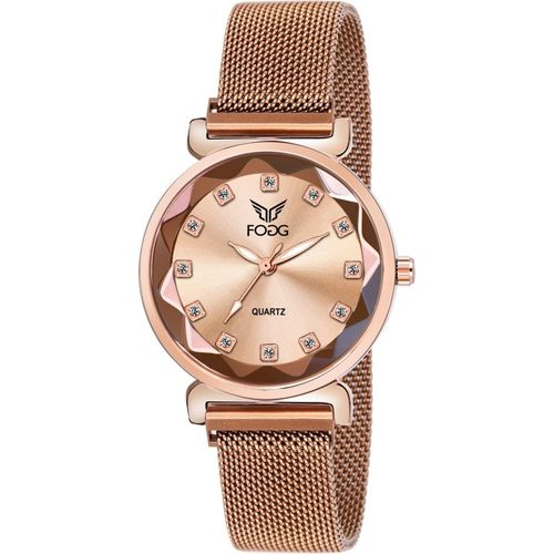 Fogg 4069-BR ION Platted Magnetic Buckle Analog Watch - For Women