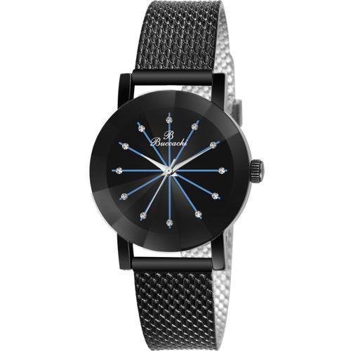 Buccachi B-L1055-BK-BK Black Dial Special Diamond Cute Glass Wrist Watch Water Resistant Black Color Strap Watch for Women/Ladies/Girls Analog Watch - For Women