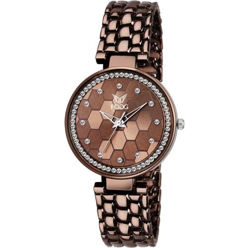 Fogg 4062-BR Brown Unique Stone Studded Analog Watch - For Women