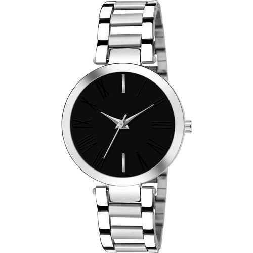 FOXTER Round Black Dial Silver Strap Analog Watch - For Women
