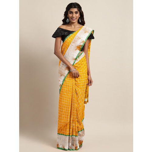 The Chennai Silks Classicate Yellow Pure Cotton Woven Design Venkatgiri Saree