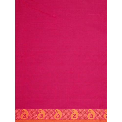 The Chennai Silks Fuchsia Pure Cotton Solid Chettinad Saree