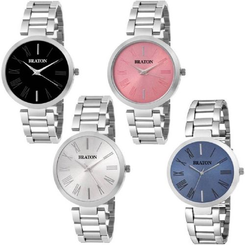 Braton BTCombowatch_205 New Generation Multicolor Dial Silver Stainless Steel Strap set of 4 Analog Combo Wrist Analog Watch - For Women