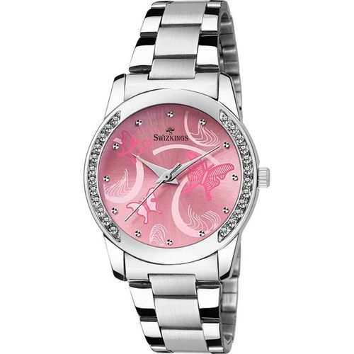 SWIZKINGS GIRLS WATCH WITH PINK DIAL STYLISH PARTY WEAR ( SK 308) Analog Watch - For Women
