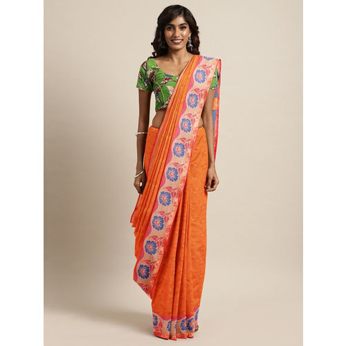 The Chennai Silks Classicate Coral Orange Pure Cotton Woven Design Kovai Saree