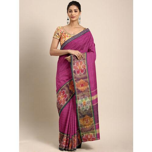 Pavechas Pink Pure Cotton Striped Pochampally Saree