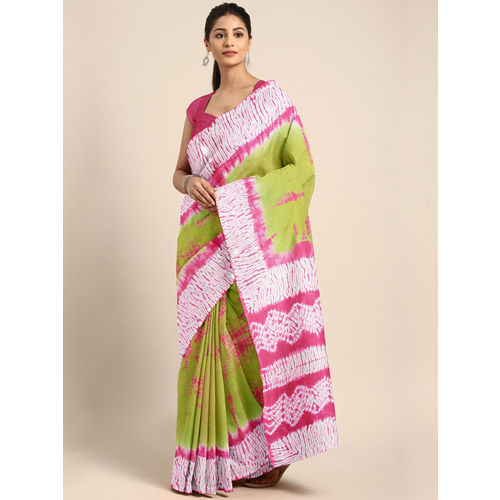 Kalakari India Green & Pink Dyed Saree