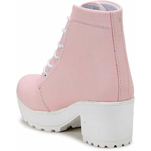 TOSHINA SHOES KING Pink Synthetic Ankle Length Boots