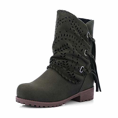 Brooklyn Walk Square Med Heels Round Toe Solid Zip Platform Shoes Woman Casual Autumn Ankle Boots Big Size 33-43
