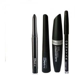 OWNSTAR Eyebrow Pencil Black & Liquid EyeLiner & Mascara & KaJal ( 4in1)(4 Items in the set)