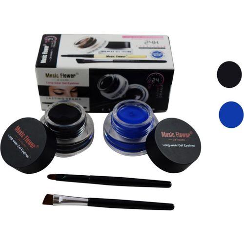Forteens Music Flower 2 in 1 (Black & Blue ) Gel Eyliner 6 g(Dark Black-Blue)