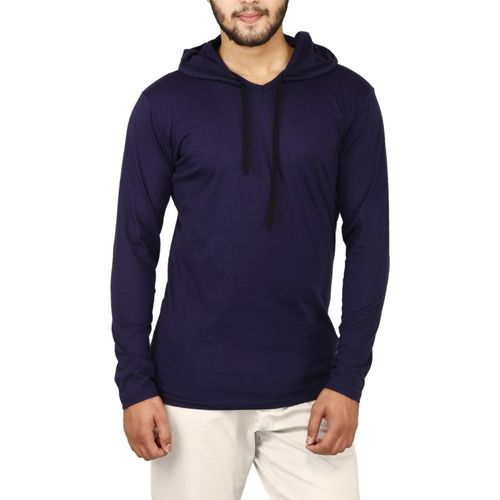 NxtSkin Solid Men Hooded Dark Blue T-Shirt