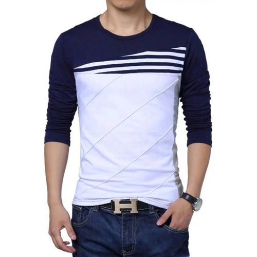 Try This Color block Men Round or Crew Blue, White T-Shirt