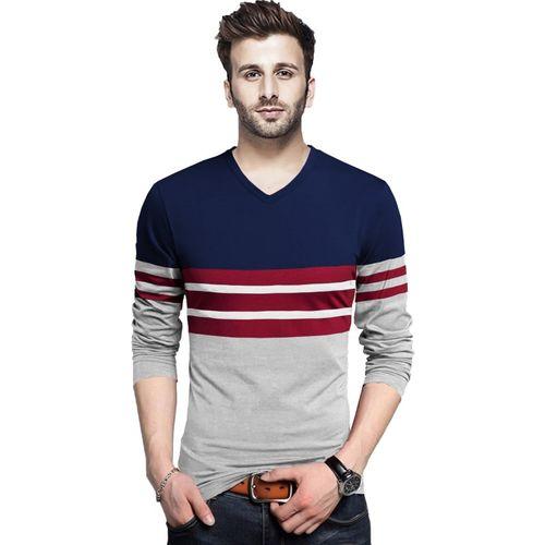 Tripr Color Block Men V Neck Dark Blue, Grey T-Shirt