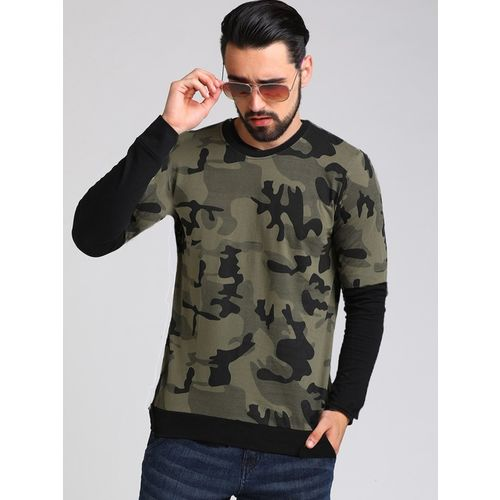 LEWEL Printed Men Round Neck Dark Green, Black T-Shirt