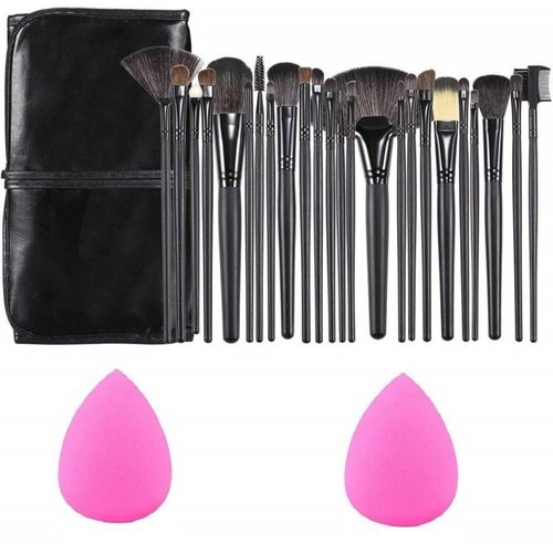 SKINPLUS Professional Wood Make Up Brushes Sets With Leather Storage Pouch - 24 Pcs + 2 SPONGE PUFF(3 Items in the set)