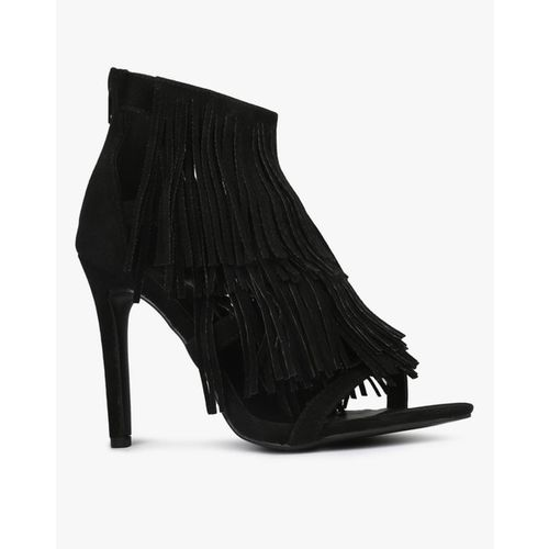 CATWALK Strappy Open-Toe Pumps with Fringe Detail