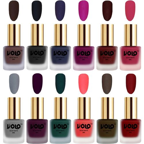 Volo Velvet Dull Matte Bold Colors Nail Polish Combo in Wholesale Rate Magenta, Light Wine, Tomato Red, Neon Orange, Russian Navy Blue, Dark Green, Olive Brown,