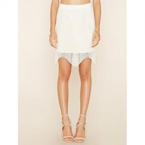 FOREVER 21 White Polyester Open Knit Knee Length Skirt