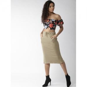 FOREVER 21 Olive Brown Cotton Polyester Back Slit Midi Pencil Skirt