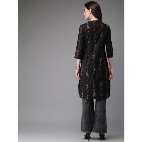 Anouk Women Black & Grey Printed A-Line Kurta