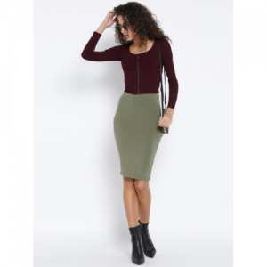 FOREVER 21 Olive Green Polyester Knitted Pencil Skirt