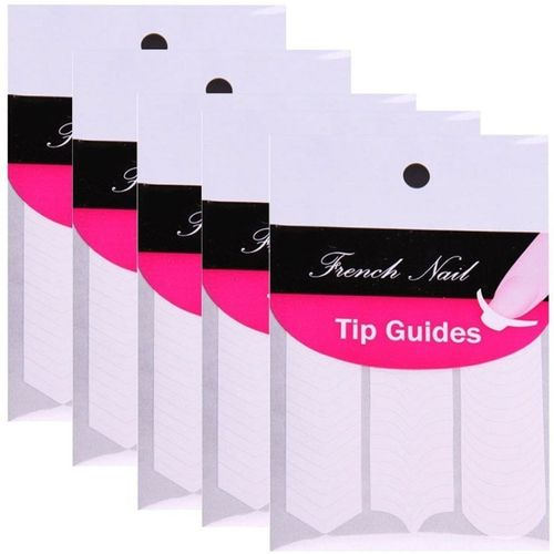 Gugzy Nail Art Designs French, Chevron & Teardrop Nail Tip Guides Stickers (Pack of 5)(White)