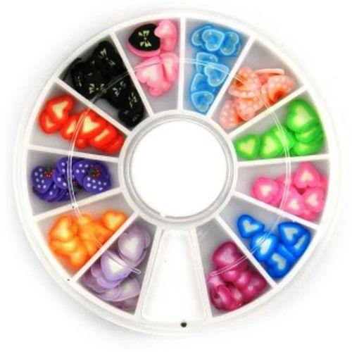 SENECIO™ SENECIO Romantic Heart Fimo Love Nail Art Multicolor 3D Clay Slice Tips Decoration With 6cm Wheel(Multicolor)