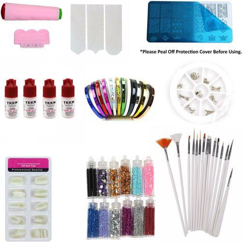 Savni Combo of nail art kit having Nail brushes , nail glue , stamping plate(Multicolor)