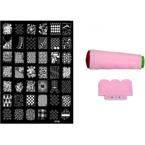 Royalkart Nail Art Stamping Jumbo Image Plate D.I.Y. With Double-Sided Stamper & Scraper(XY19)(Multicolor)