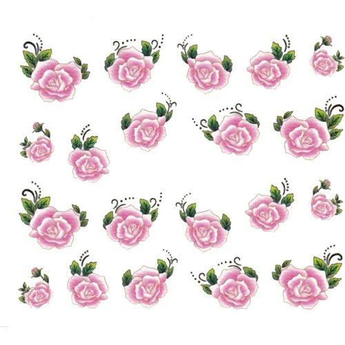 SENECIO™ SENECIO Rose Bunch Multicolor Style - 19 Nail Art Manicure Decals Water Transfer Stickers Sheet(Multicolor)