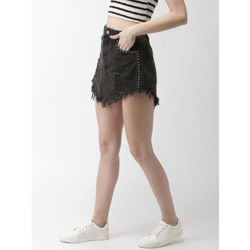 FOREVER 21 Women Black Embellished A-Line Denim Skirt