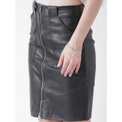 FOREVER 21 Black Front Zipper Skirt