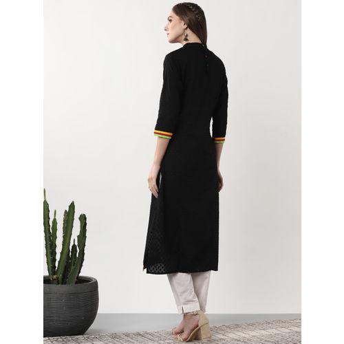 Sangria Women Black Woven Design Straight Kurta