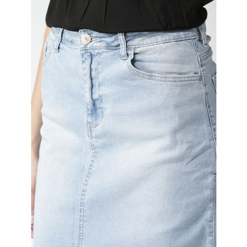 FOREVER 21 Blue Washed Denim A-Line Skirt
