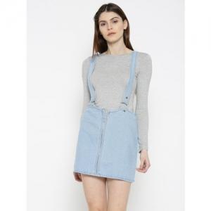 FOREVER 21 Blue Denim Pencil Skirt with Suspenders