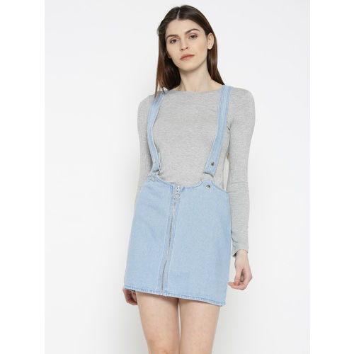 FOREVER 21 Blue Denim Pencil Skirt with Suspenders