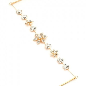 Crunchy Fashion Juda Jal Crystal pearl pins Hair Chain(Gold)