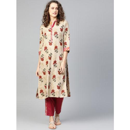 Shree Women Beige & Red Printed Kurta with Trousers